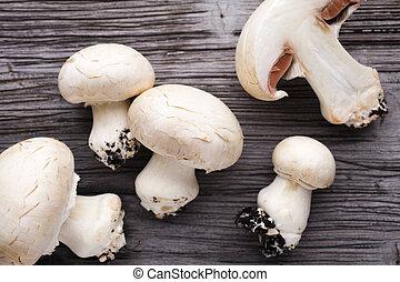 Champignon. - Fresh champignon on a wooden table. New crop.