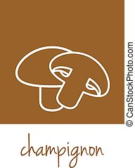 champignon icon on brown square