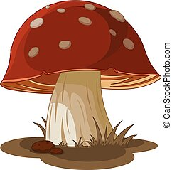 Champignon, amanite. Illustration, herbe, amanite, champignon.