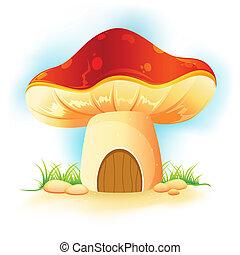 champignon, maison dans, jardin
