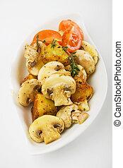 Champignon mushrooms wit baked potato