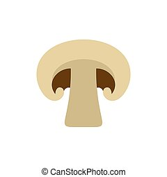 Champignon with shadow icon, flat style