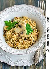 champignons, above., risotto, vue, onions.