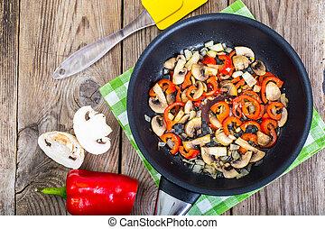 champignons, au-dessus, poivres, frit, oignons, pan., vue