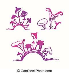 champignons hallucinog ne moisissure ou psych d lique illustration vectorielle. Black Bedroom Furniture Sets. Home Design Ideas