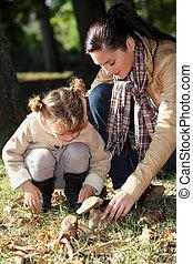 champignons, cueillette, fille, mère