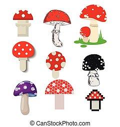 champignons, ensemble, illustration., nourriture, dangereux, toxique, amanite, moisissure, vecteur, saison, toxique