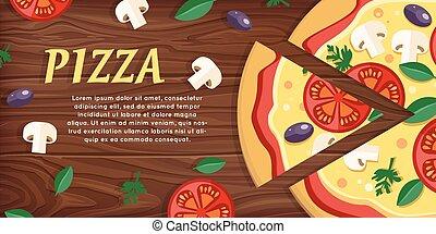 champignons, herbes, tomates, pizza, olives