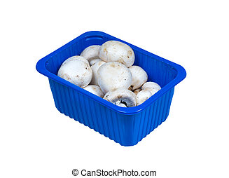 Champignons in plastic packaging isolated on white.