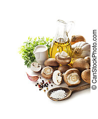 Champignons - Ingredients for mushroom soup on white...