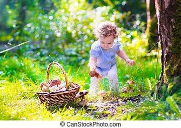 champignons, peu, parc, automne, cueillette, girl