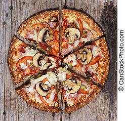 champignons, pizza pepperoni