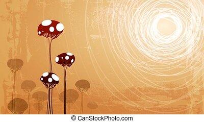 champignons, soleil, boucle