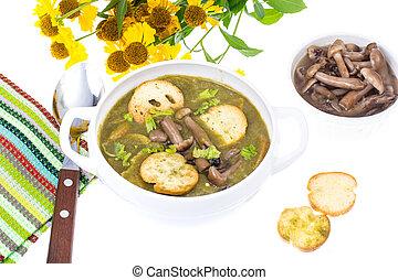 champignons, soupe, vert, croûtons, crème