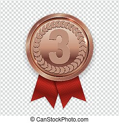 Champion Art Bronze Medal with Red Ribbon Icon Sign First Place Isolated on Transparent Background. Vector Illustration