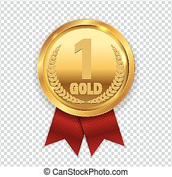 Champion Art Golden Medal with Red Ribbon l Icon Sign First Place Isolated on Transparent Background. Vector Illustration