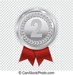 Champion Art Silver Medal with Red Ribbon Icon Sign Second Place Isolated on Transparent Background. Vector Illustration