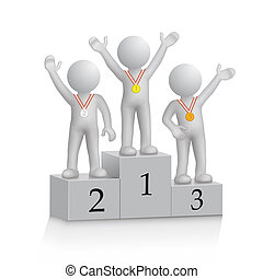 Champion - athletes are winners on the podium, the object is...