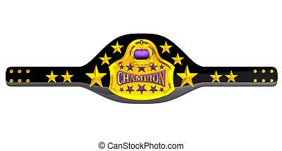 Champion Belt. 3D render illustration.