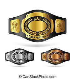 Champion belt - Three champion belts vector illustration