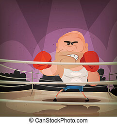 Champion Boxer On The Ring - Illustration of a cartoon...