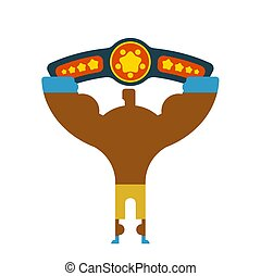 Champion Boxer winner hands up. Winning tournament. Championship on fights. Belt