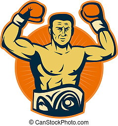 Champion boxer with championship belt raising gloves -...