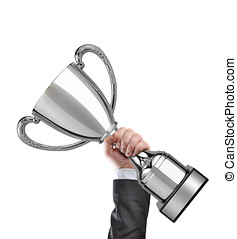 champion - Businessman holding a silver cup trophy