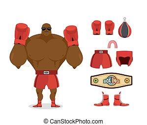 champion., capacete, protetor, boots., set., boxe, pêra, desportista, acessório, competições, vencedor, cap., pugilista, luvas, lutas, kit:, desporto, shorts., cinto