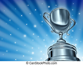 Champion Cup Award - Champion silver cup award in a dynamic...