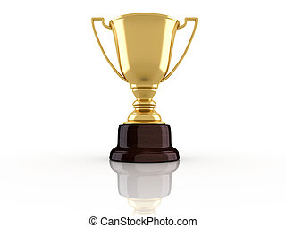 Champion cup - Golden champion trophy on white background -...