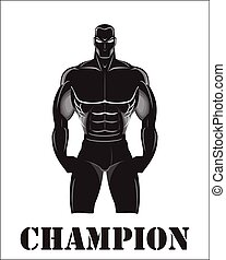 Design for Gym. Bodybuilder silhouette. Muscular man. Sportsman silhouette character. Sport Fitness club creative concept. Power strength man icon. Fighter. Masculine. Fitness club Icon. Fighting Club