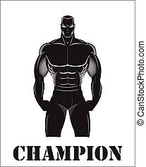 Champion - Design for Gym. Bodybuilder silhouette. Muscular...