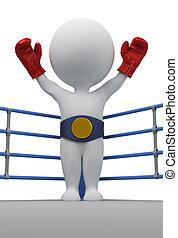 champion, gens, -, boxeur, petit, 3d