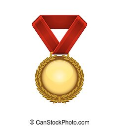 Champion Gold Medal with Red Ribbon. Vector