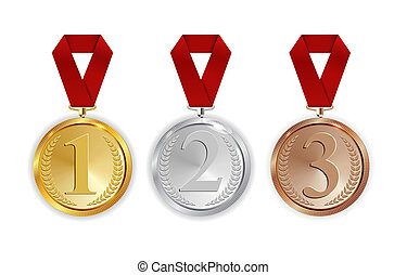 Champion Gold, Silver and Bronze Medal with Red Ribbon Icon Sign First, Secondand Third Place Collection Set Isolated on White Background. Illustration