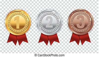 Champion Gold, Silver and Bronze Medal with Red Ribbon Icon...