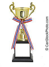 Champion Gold Trophy Isolated On WhiteWith Clipping Path