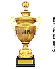 champion golden trophy on white background 3d illustration