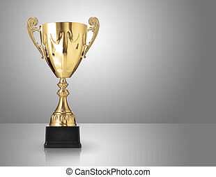 trophy - champion golden trophy over grey background