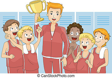 Champion - Illustration of a Team Celebrating Their Victory