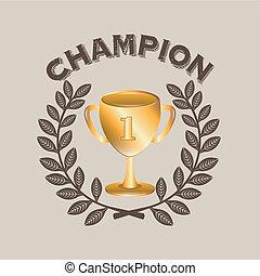 champion label over bige background vector illustration