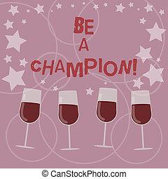 champion., sein, begriff, wort, geschaeftswelt, cocktail, wettkampf, text, gewinner, zerstreut, konkurrenz, schreibende, stemware., triumph, sternen, konfetti, sport, brille, gefüllt, wein