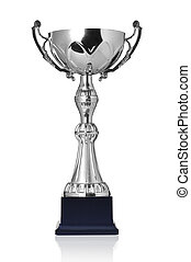 silver trophy - champion silver trophy isolated on white