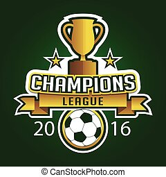 Champion soccer league logo emblem badge graphic with trophy