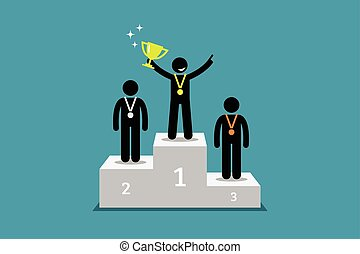 Champion standing on a podium with first and second runner up.