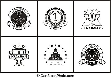 Champion Trophy Collection Vector Illustration