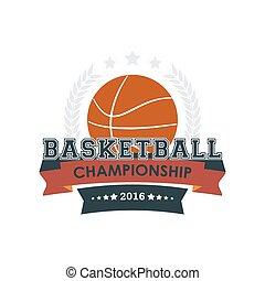 championnat, basket-ball, emblème, vector.