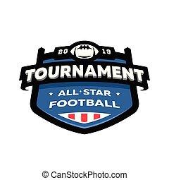 championnat, emblème, illustration., football, américain, vecteur, logo.