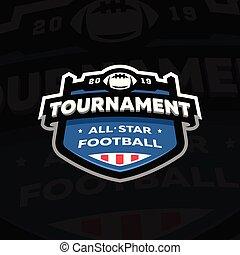 championnat, emblème, illustration., football, sombre, arrière-plan., américain, vecteur, logo